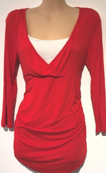 RED HERRING RED CROSS OVER CHEST JERSEY TOP SIZE 10